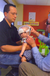 Myles getting fitted for helmet therapy